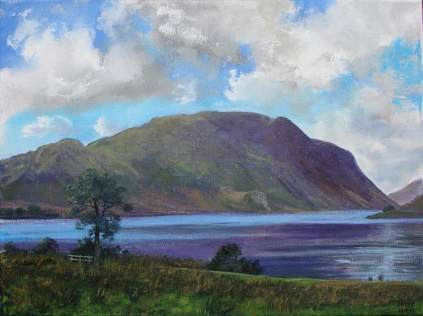 Crummock Water & Melbreak, plein air sketch 18/9/15 by Peter Brook