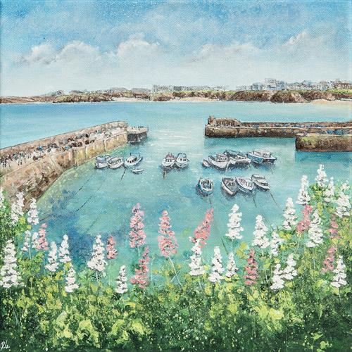 Newquay Harbour Flowers by Diane Griffiths