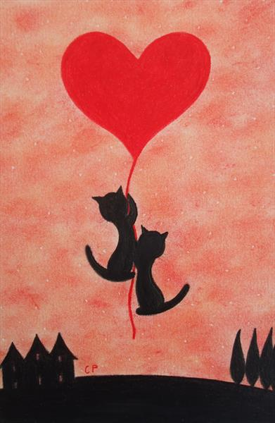 Cats and Heart (Framed)