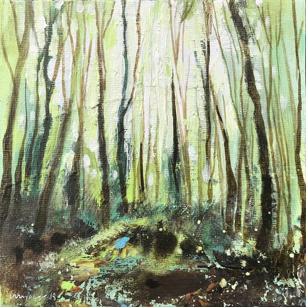 'Woodland Light' - 15cm x 15cm FRAMED expressive landscape on board by Luci Power
