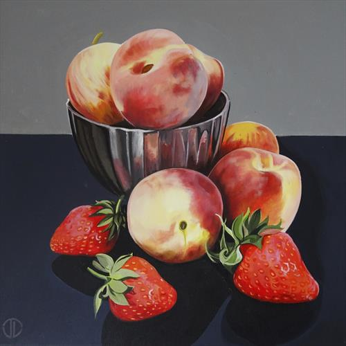 Still Life Peaches Apples And Strawberries by Joseph Lynch
