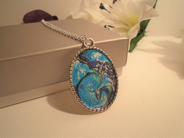 Hand Painted Tibetan Silver Oval Pendant by Brenda Newton