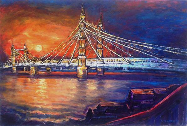 Albert Bridge at Night by Patricia Clements