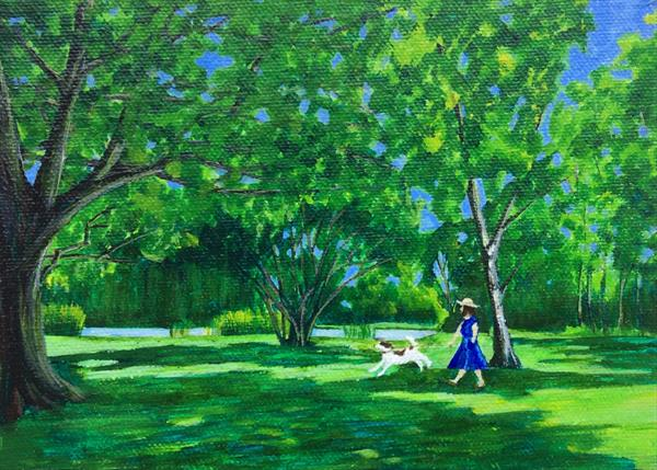 Walking the dog by St Peter's Pool by Teresa Hodges