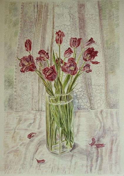 Tulips with lace curtain by Patricia Buckley