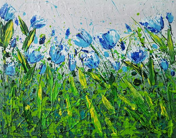 BLUE TULIPS FIELD by Cinzia Mancini