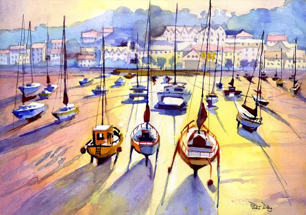 St Aubin Harbour, Jersey, Channel Islands. Beach, Boats & Sea. Sunset by Peter Day