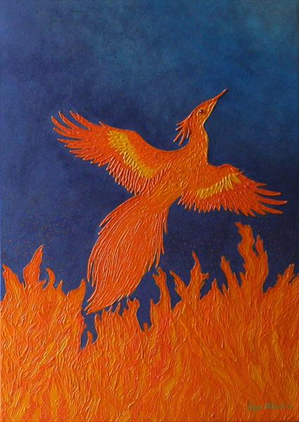 Fire of Creation - rebirth of phoenix painting by Liza Wheeler