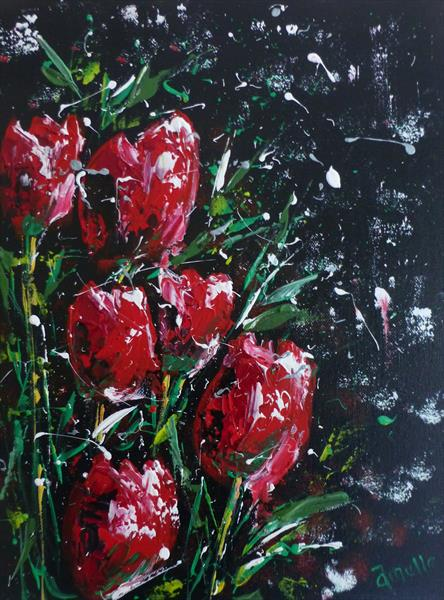 Snow Tulips by Amelle Eley
