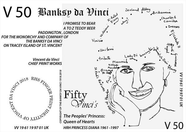 V 50 Banksy Note of HRH Princess Diana (RHS version with Finger Print ID) by Vincent da Vinci