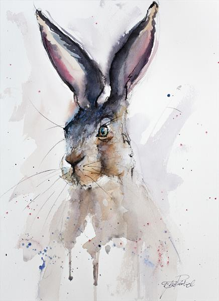Watercolour Hare by Tomasz Mikutel