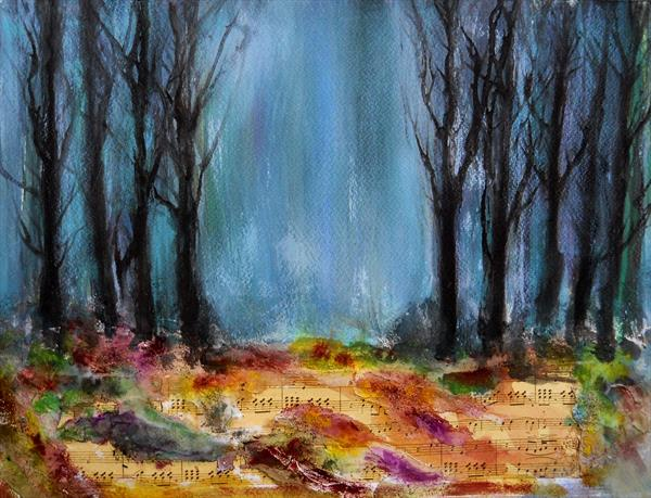 Melody Woods ~ Acrylic Mixed Media Impressionist Painting  by Maxine Martin