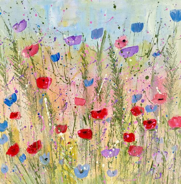 Garden Flowers - large square original  by Caroline Duncan