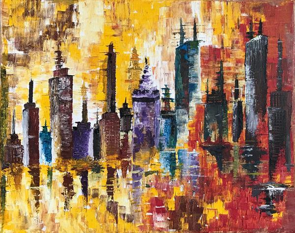 Night City Abstract Painting