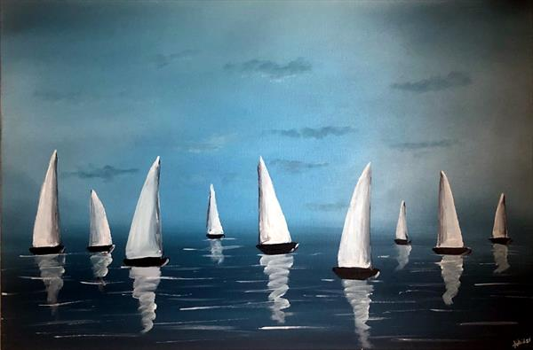 White Sails And Blue Sky by Aisha Haider
