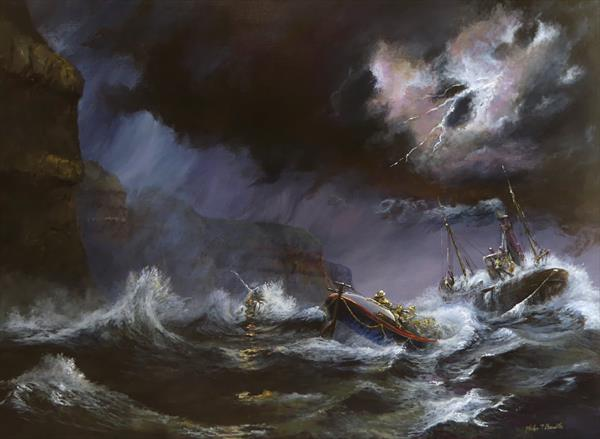 Plight of the Scarborough Lifeboat by Philip Boville