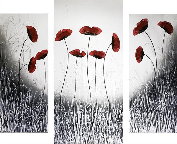 Black white Poppies Triptych by Carol Wood