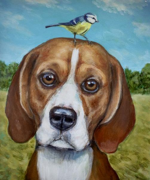 The Beagle and Blue Tit by Victoria Stanway