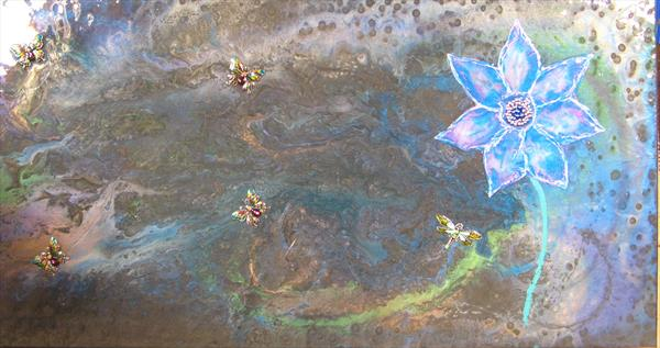 Flower and butterflies  - Currently showing at Malvern gallery by Fiona Robinson