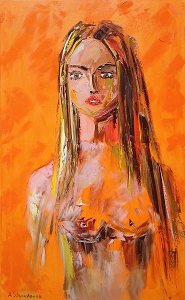 She; Original palette knife oil painting; nude oil painting; nude woman painting; nude palette knife by Alena Shymchonak