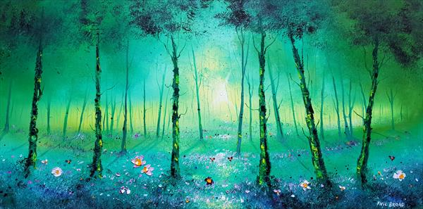 """Lime Green Forest & FLowers in Love"" by Phil broad"
