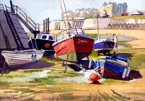 'Painting the Boat'. Viking Bay, Broadstairs, Kent. Beach, Sea, Cliffs. by Peter Day