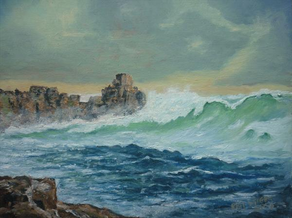 Rough Sea Portreath by Phil Willetts