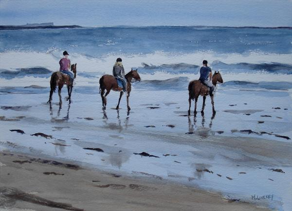Horse Riders On Bamburgh Beach by Mike Livesey