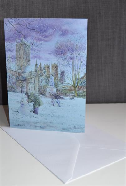 Set of 5 luxury Iconic Lincolnshire  Christmas cards by Carl Paul