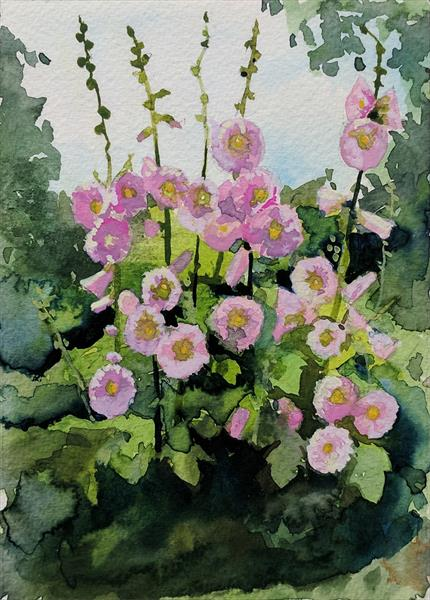 Hollyhocks by Tracy Butler