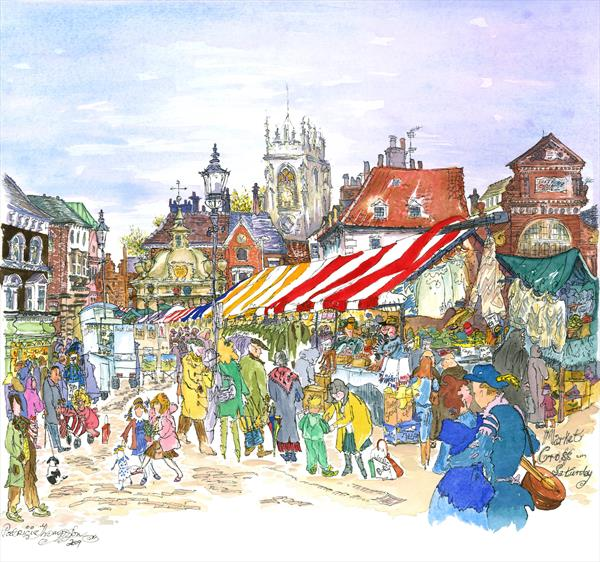 'STALLS AND AWNINGS' - The Market Cross in Saturday Market, BEVERLEY  East Yorkshire by Patricia Edith Mary Thompson