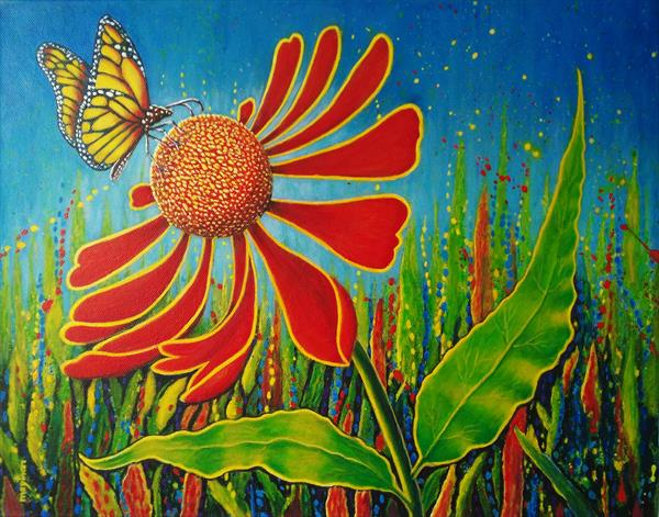 Butterfly and cone flower by may than