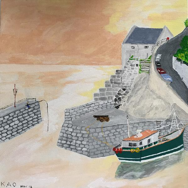 Porthleven at dusk by Keith Owen