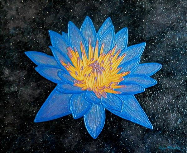 Lotus Galaxy - abstract lotus flower painting by Liza Wheeler