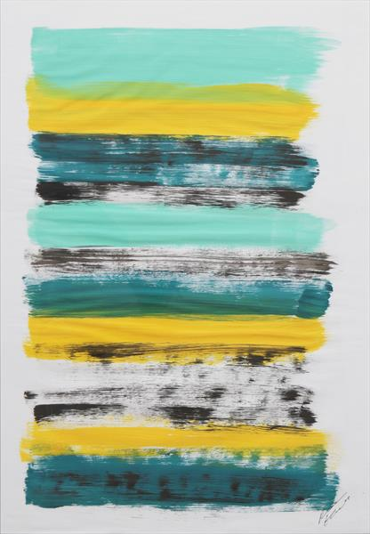 Yellow Stacked - Fine Art on Paper by Ronald Hunter