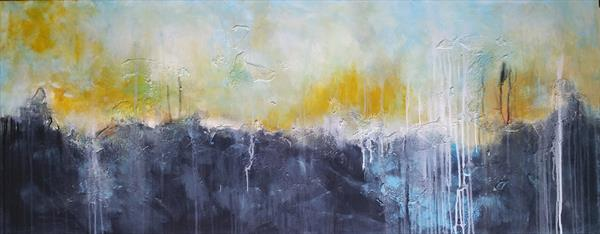 """59x 23,5""""( 150x60cm),Thinking out loud 7, Landscape, light orange painting , art, home painting by Veronica Vilsan"""