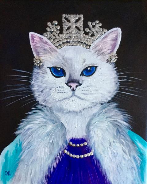 Cat La Queen. Feline art. by Olga  Koval