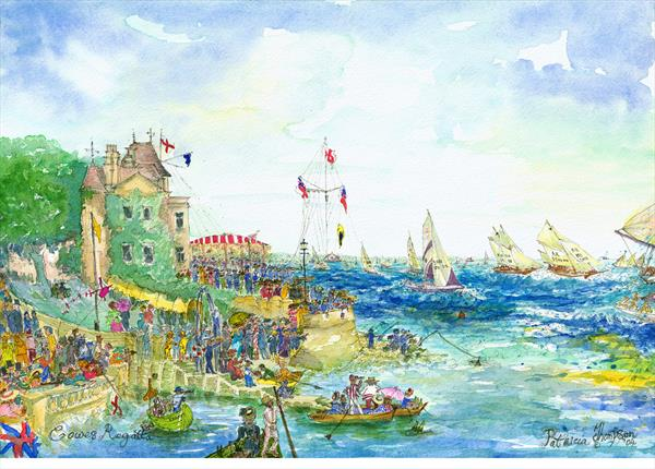 COWES REGATTA - The Starting Line at the Royal Yacht Squadron c.1910 by Patricia Edith Mary Thompson