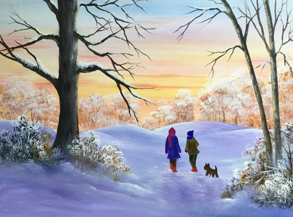 """Snowy Morning Walk. large acrylic painting 16"""" x 12"""" by Pamela West by Pamela West"""