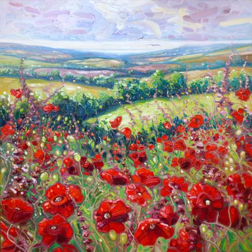 Poppies in a Sussex Meadow by Gill Bustamante