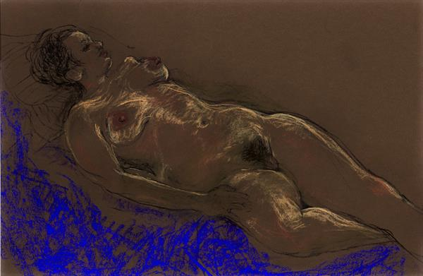 Life drawing reclining female  (large Print) by Patricia Clements