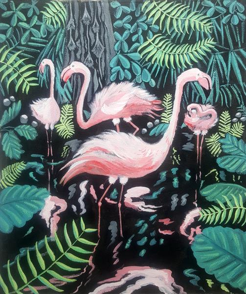 Flamingos tropical bird painting  by Mary Stubberfield