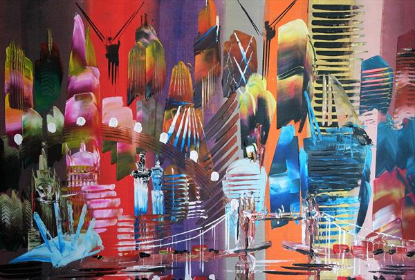 City of London Abstract Painting 2023 by Eraclis Aristidou
