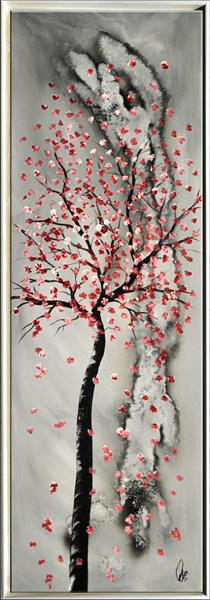 Endless Spring - framed acrylic abstract painting flowers blossoms nature painting canvas wall art by Edelgard Schroer