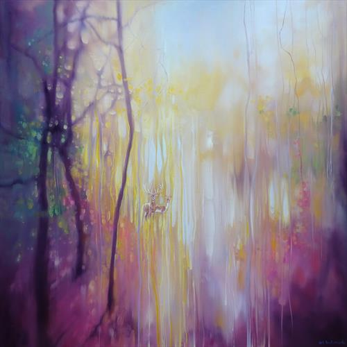 Something Changes- a sussex autumn landscape with deer by Gill Bustamante