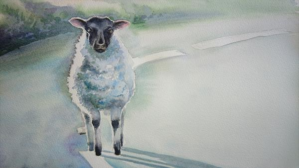 Wandering lost lamb sheep in the morning mist road Winsor & Newton Artist watercolour paper A3 by Elena Haines