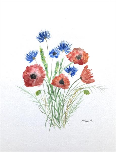 Poppies and cornflowers by Monika Howarth