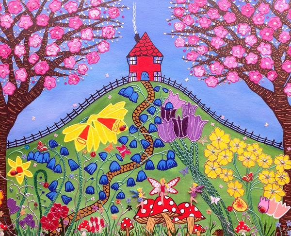 """Red House On The Hill In Spring"""