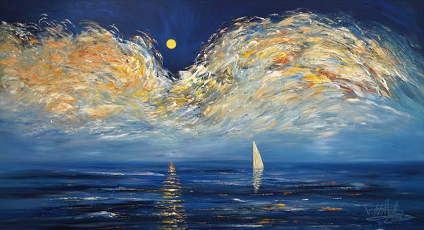 Early Moonlight Sailing L 2 by Peter Nottrott