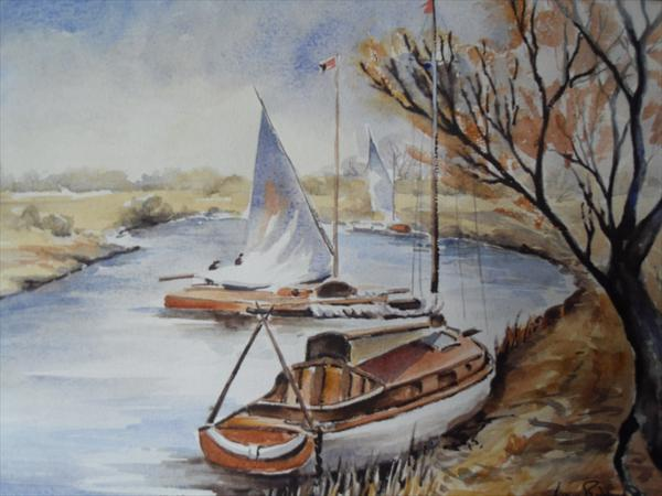 "Yachts On the Norfolk Broads (14.10"" X 10"" + Mount) by Lynn Edwards"